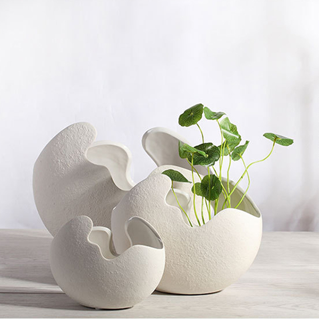Flower pots planters metal pot european style white egg shape ceramic  planter desktop home wedding decoration 3pcs/lot-in Nursery Pots from Home  &