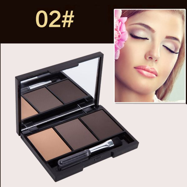 Hot Professional Kit 3 Color Eyebrow Powder Shadow Palette Enhancer with Ended Brushes 7