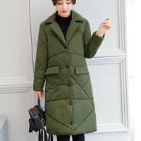 New Spring Winter Parkas Warm Jacket Women Cotton Quilted Coat Stand Collar Outwear Plus Size Female Parkas Casco Femminos Coat
