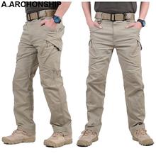 2017 IX9 II mężczyźni Militar Tactical spodnie Combat spodnie SWAT Army Military Spodnie Mężczyźni Cargo Outdoors spodnie casual bawełniane spodnie tanie tanio Pełna długość Mężczyzn od 29 5 do 40 Zamek błyskawiczny Fly Midweight Spodnie cargo Płaskie KiiXel-001 Sukno Regularne