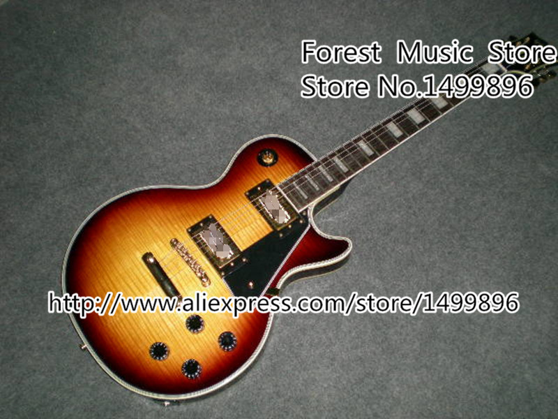 Chinese Musical Instruments Vintage Sunburst Tiger Flame Finish LP Custom Electric Guitars In Stock musical instrument professional chinese electric guitars chibson lp sg guitars 3 pickups black g400 jazz guitar in stock
