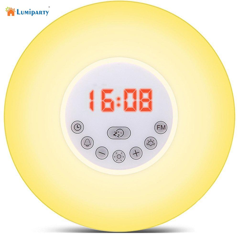 Lumiparty Wake Up Light Sunrise Simulation Alarm Clock with Sunset & Snooze Function Bedside Night Light Colorful Lamp& FM Radio часы philips wake up light hf3505