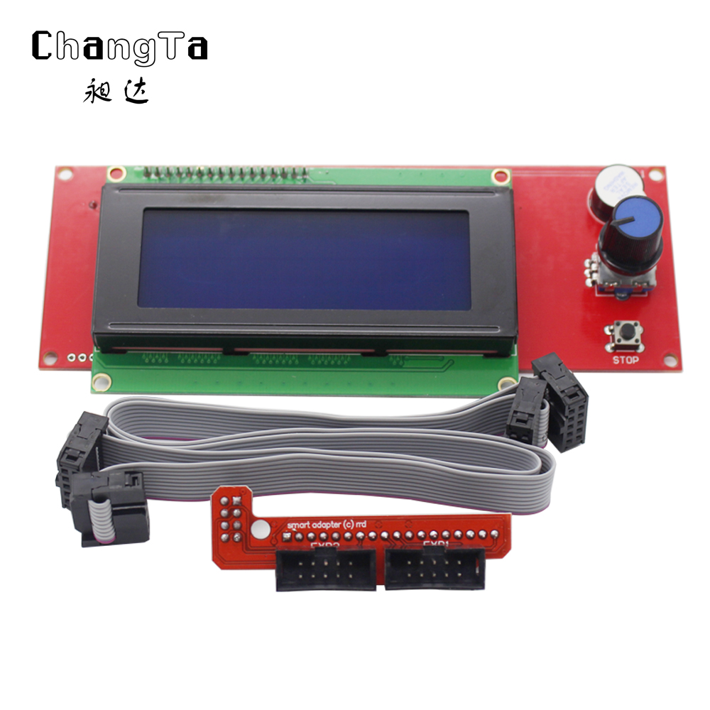 3d Printer Kit Smart Parts Ramps 1.4 Controller Control Panel Lcd 2004 Module Display Motherboard Blue Screen Lcd Controller Office Electronics