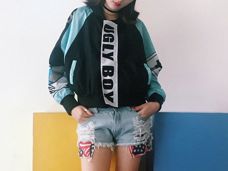 womens cropped bomber jacket 2016 woman fashion cute cartoon print ...