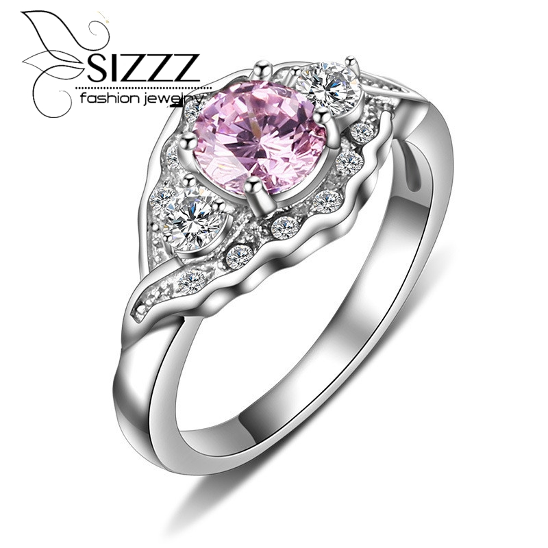 sizzz new stainless steel wedding rings for women pink