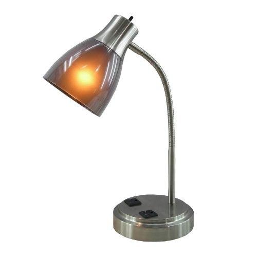 Lampe de bureau nordique CFL avec deux prises électriques sur le support de Base pour studyroom café salle de lecture lampe de table Vintage