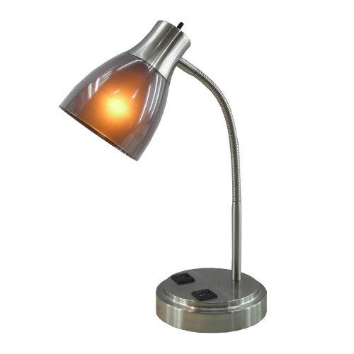 nordic Lighting CFL Desk Lamp with Two Electrical Outlets on the Base Mount for studyroom cafe reading room Vintage table light|Desk Lamps| |  -