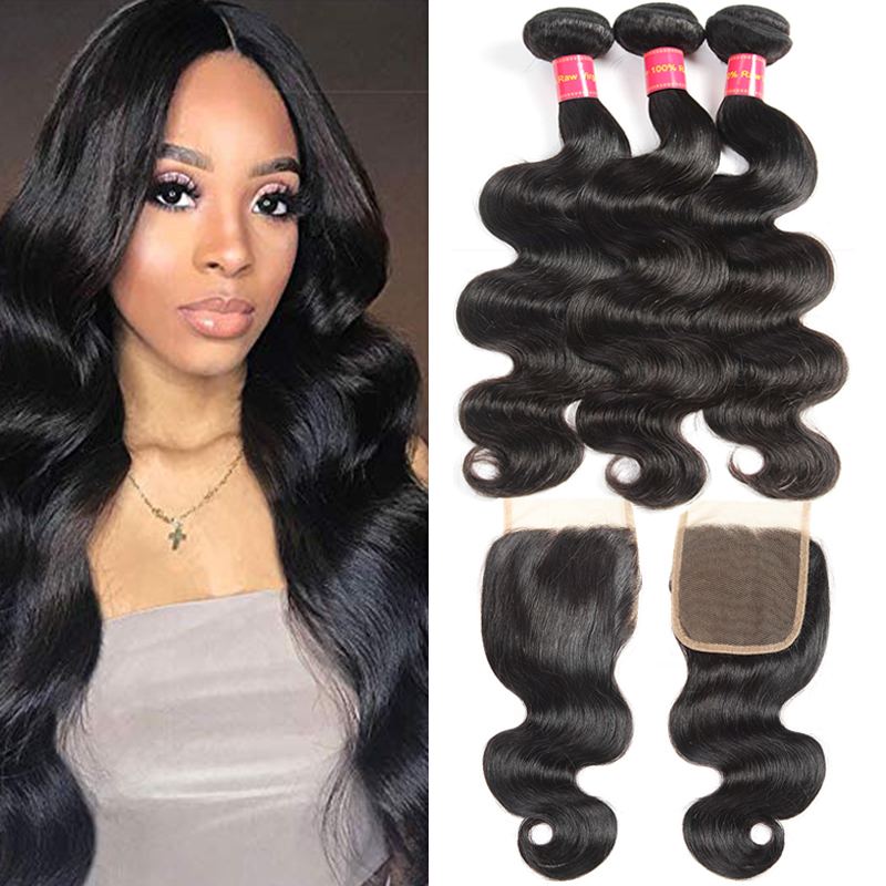 Brazilian Body Wave 3 Bundles with Closure Human Hair Bundles with Closure Natural Color Weave Bundles No-Remy Hair Eextension