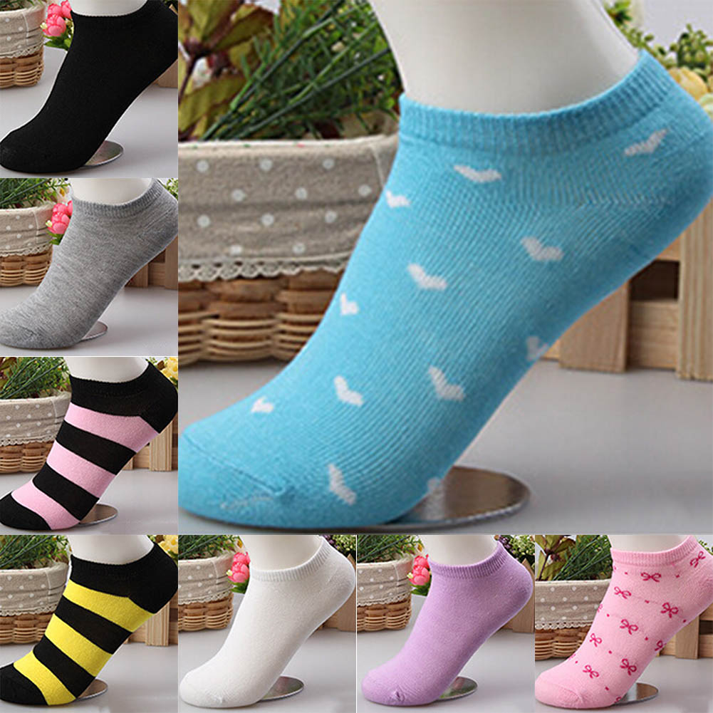 1 Pair Fashion Candy Color Women Socks Classic Spring Summer Autumn Multi Colors Love Heart Pattern Comfortable Boat Sock