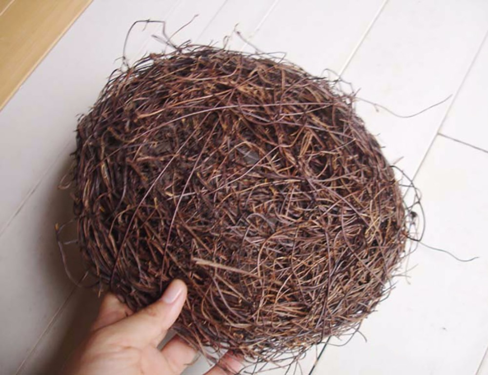 2 stks natuurlijke rotan vogels nest lente decoratie props tuin yard