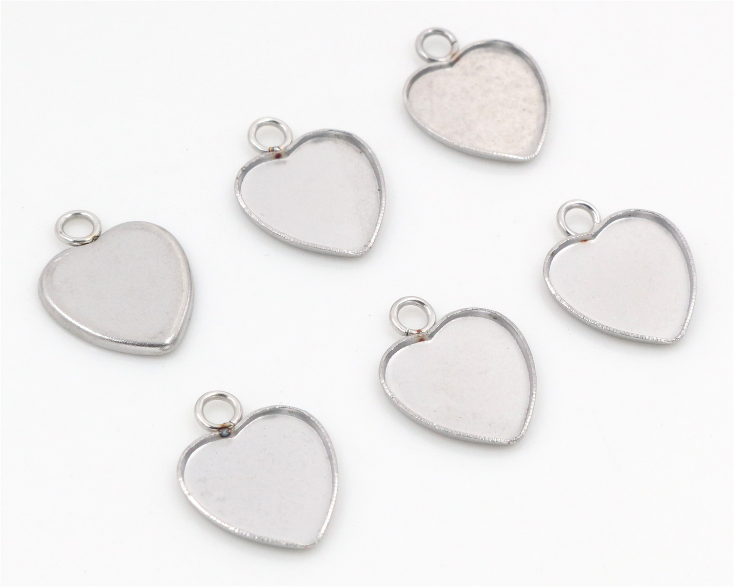 20pcs 12mm Heart Inner Size Stainless Steel Material Simple Style Cabochon Base Cameo Setting Charms Pendant Tray-T7-4120pcs 12mm Heart Inner Size Stainless Steel Material Simple Style Cabochon Base Cameo Setting Charms Pendant Tray-T7-41