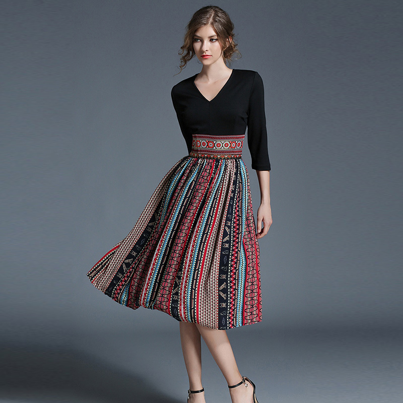 2017 Women Summer Vintage Bohemian Chiffon Print Dress Female Patchwork Office Dresses Beach Casual Holiday Long