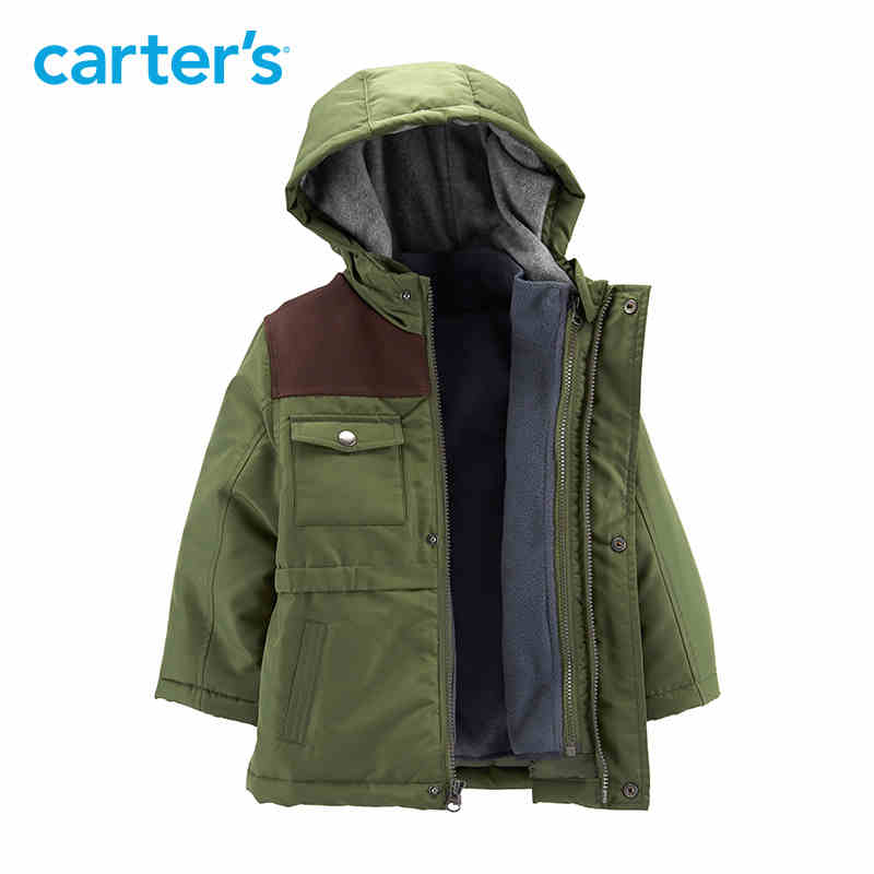 Carter's autumn winter boys jacket army green long sleeve hooded zip up warm thick kids coat CL218BX3
