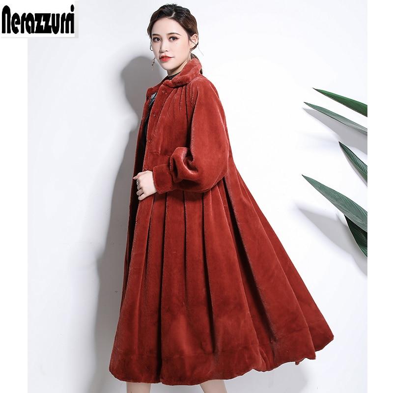Nerazzurri invierno Faux abrigo de piel las mujeres 2019 furry espesar falda falso cortado abrigos de piel de visón plus tamaño abrigo 5xl 6xl 7xl