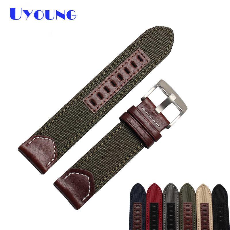 בד ניילון רצועת השעון 20 22 24mm שעון צמיד תפור שעוני יד להקת תחתון הוא אמיתי עור עור חגורות