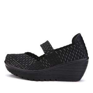 Image 5 - 2020 נשים קיץ פלטפורמת נעליים לנשימה בעבודת יד ארוג דירות נעלי אופנה נעלי ספורט נשים רב צבעים סנדלי גודל גדול 42