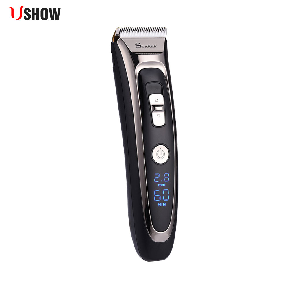 все цены на Professional Hair Clipper Titanium Ceramic Blade Rechargeable Hair Trimmer LED Electric Hair Cutting Machine Iron