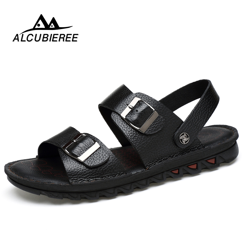 ALCUBIEREE Casual Shoes Sandals Men Soft Leather  Fashion Flat Shoes Man Outdoor Slippers Breathable Man Comfort Slipper