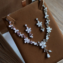 New Arrival High Quality Flower Shape AAAA Cubic Zircon Stone Bridal Necklace set Wedding Accessories