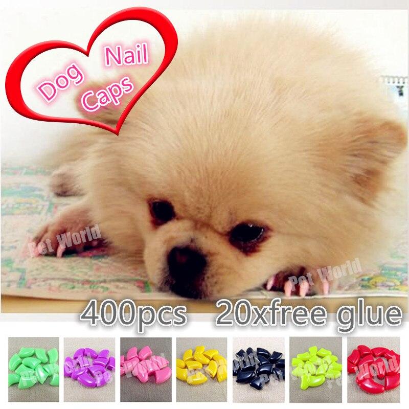 400pcs/lot Pet dog Nail Sets Soft Claws Nail Cap Paw Caps Pet Nail Cover claw grooming control with adhesive