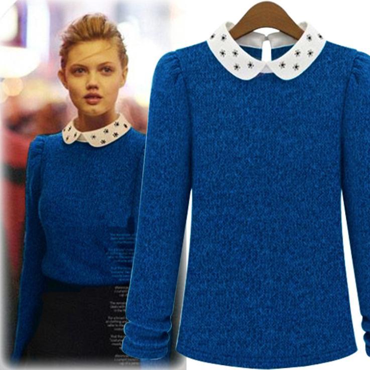 2015 Autumn&Winter Ladies Woolen Peter Pan Collar Sweater,Women ...