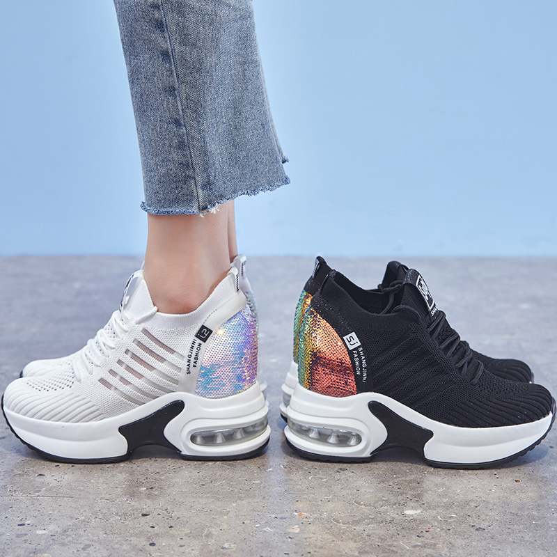 Dumoo Girl Casual White Sneakers Shoes Women High Heel 9cm Leisure Platform Wedges Height Increasing Lady