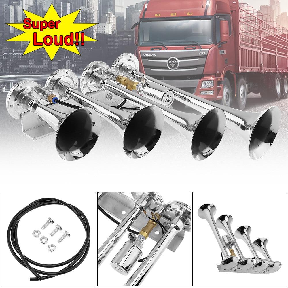 12V 24V 185dB Super Loud Four Trumpet Air Horn for Car Vehicle Truck Train Bikes Train