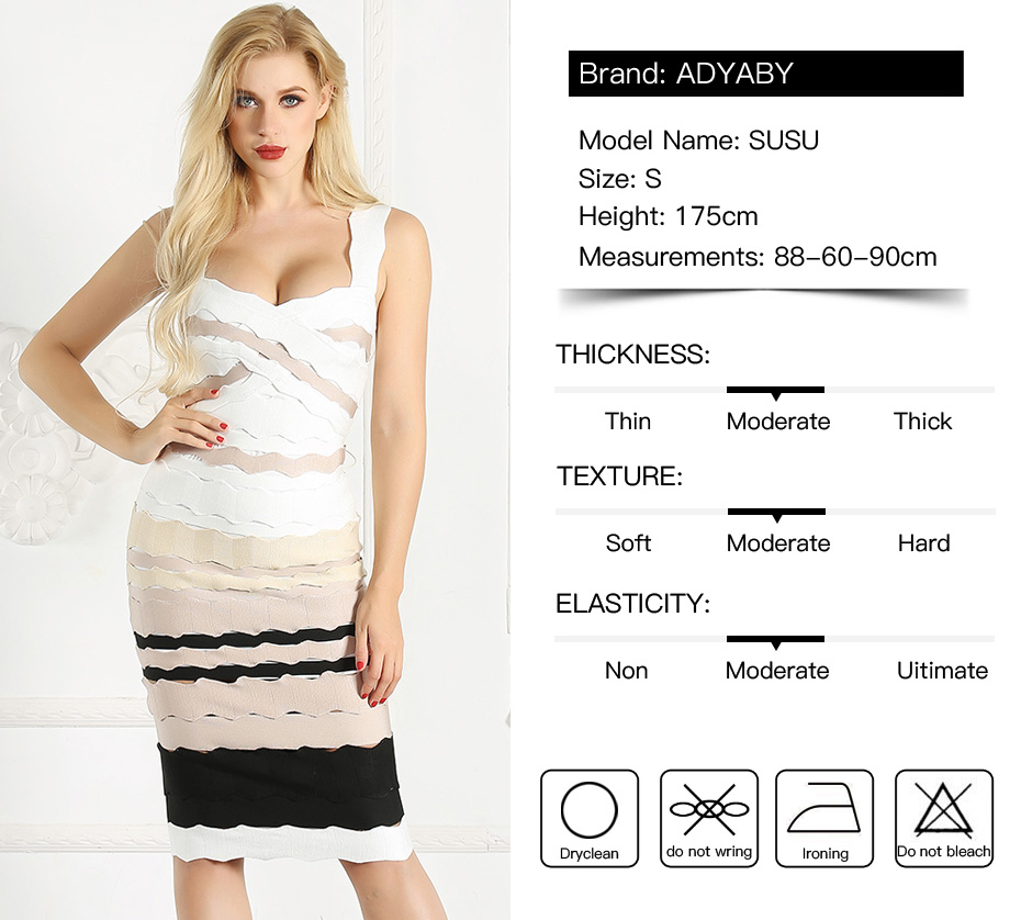 400622f0201 Sexy Bandage Dress Women Summer 2018 New Arrivals Club Party Dresses Ladies  Knee Length Spaghetti Strap Striped Bodycon Dress. ADYABY 4337 4