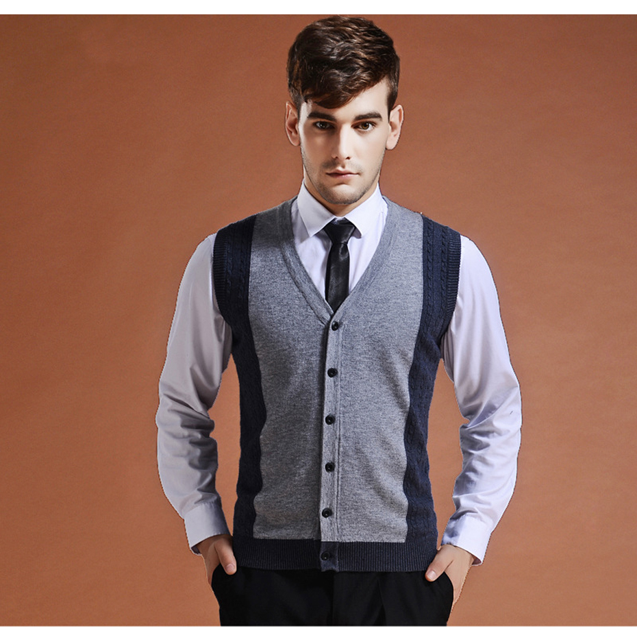 Men's Clothing ... Sweaters ... 32794134518 ... 3 ... Sweater Cardigan Buttons Down Knit Jacket Vest for Men Sleeveless Wool Stylish Fashion Patchwork Red Grey 2018 ...