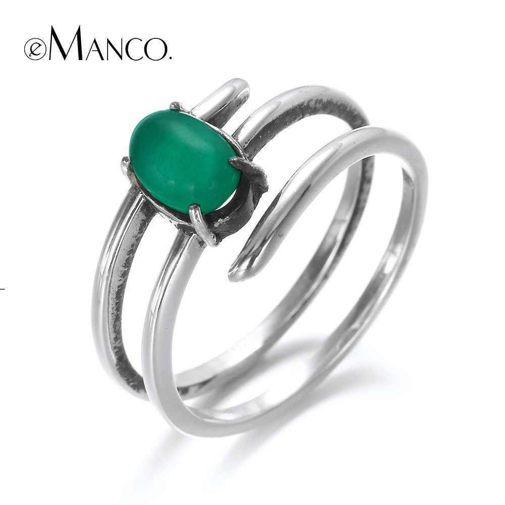 E-Manco 925 เงินสเตอร์ลิงมาเลย์หยกหินธรรมชาติแหวน Unisex Multilayer แหวนแฟชั่นมาใหม่ที่ดีที่สุดของขวัญ