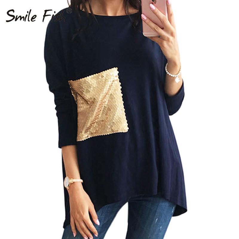 Women Plus Size Blouse O Neck Long Bottoming Shirts Sequined Tops 2019 Female Blusa Autumn Asymmetric Tunic Shirt Blouses LX101