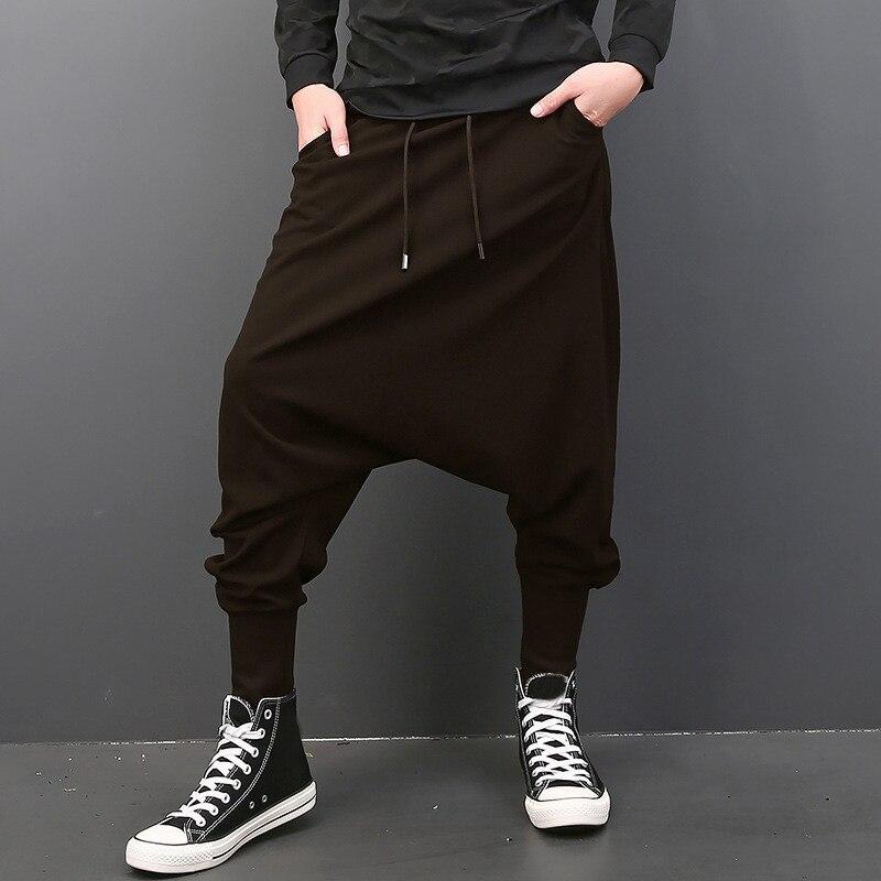 INCERUN Мужские штаны с эластичной резинкой на талии, на завязках, с заниженным шаговым швом, шаровары в стиле хип-хоп, спортивные штаны для бега, мужские брюки, модная одежда - Цвет: Coffee Men Pants
