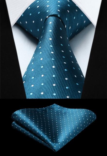 813a3e88b410f Party Wedding Classic Fashion Pocket Square Tie Woven Men Blue White Tie  Polka Dot Necktie Handkerchief Set#TD611B8S