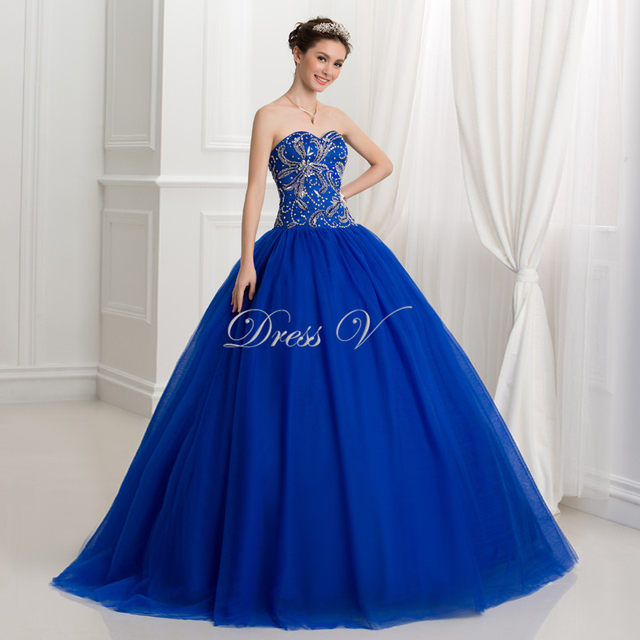 Online Shop Royal Blue Ball Gown Puffy Quinceanera Dresses 2017 ...