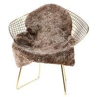 Genuine 1P natural shaped curly sheep fur rug for living room, sheep fur bed slide carpet , brown curly wool fur chair mat