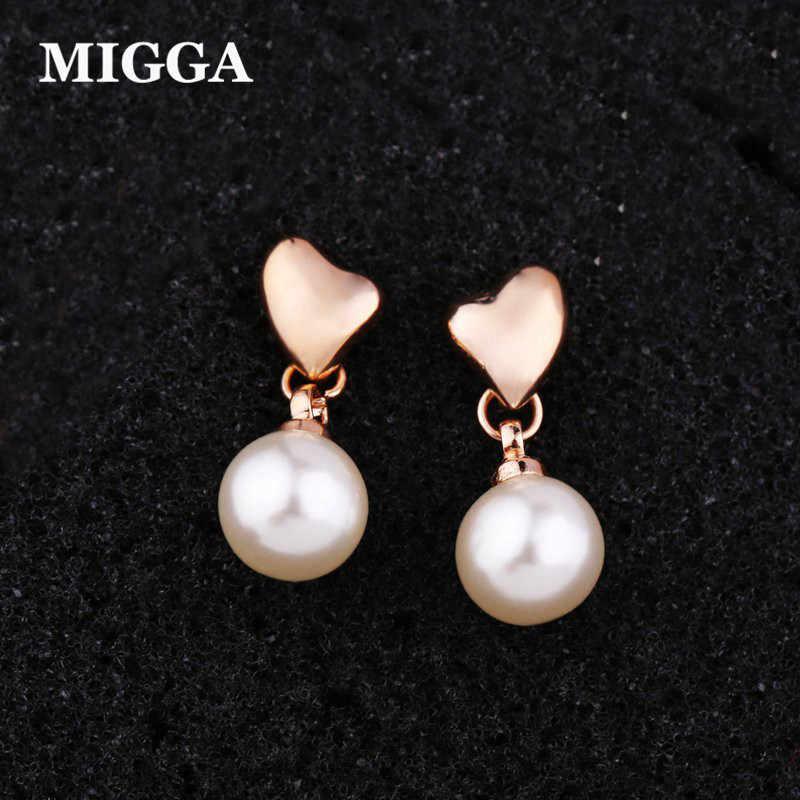 MIGGA doux coeur boucles d'oreilles pour femmes Rose/blanc or couleur Imitation perle boucles d'oreilles bijoux