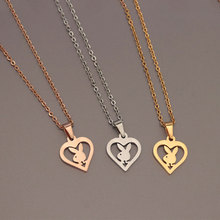 Wholesale 10pc Bunny in Heart Stainless Steel Necklaces Rabb