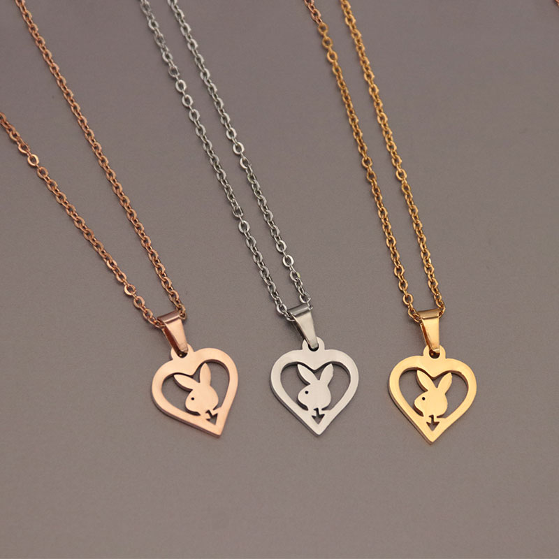 Wholesale 10pc Bunny in Heart Stainless Steel Necklaces Rabbit Pendant Charms Chokers Necklace Kids Jewellery Bijoux femme lol