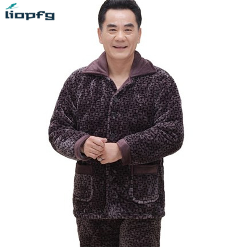 2017 New Middle-Aged Man Pajamas Suit Three Layers Thicker Coral Velvet Plus Cashmere Jacket Middle Age Pajamas Suit QW010