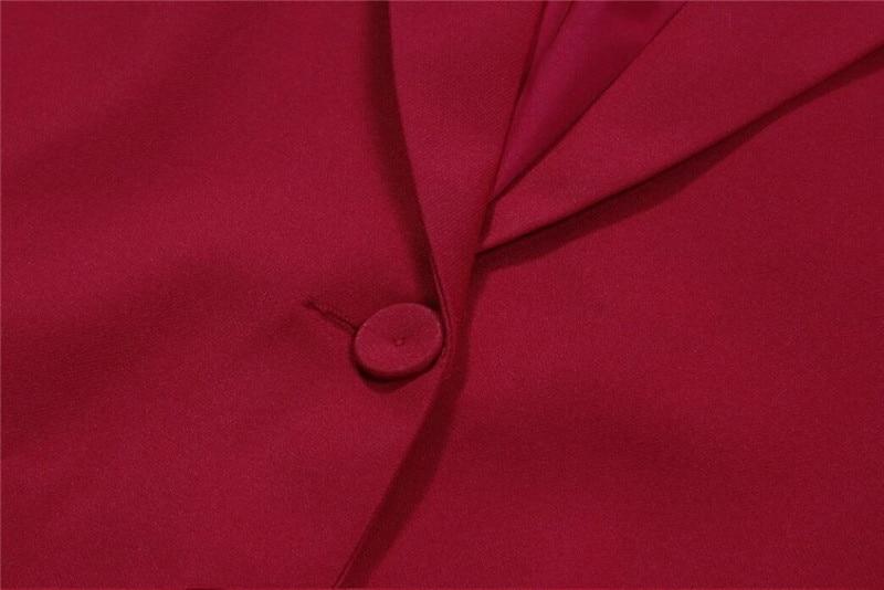 赤女性パンツスーツタキシード 2 個セット (ジャケット + パンツ) 女性ビジネススーツ女性オフィス制服レディースパンツスーツカスタムメイド  グループ上の レディース衣服 からの パンツスーツ の中 3
