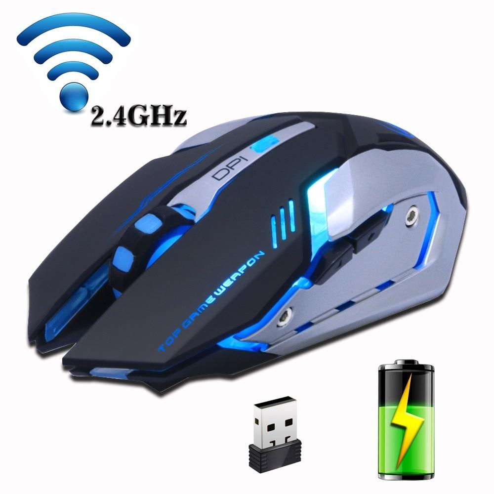 Wiederaufladbare Wireless Gaming Maus Hintergrundbeleuchtung Atem Komfort Gamer Stille stumm Mäuse für Computer-Desktop Laptop NoteBook PC