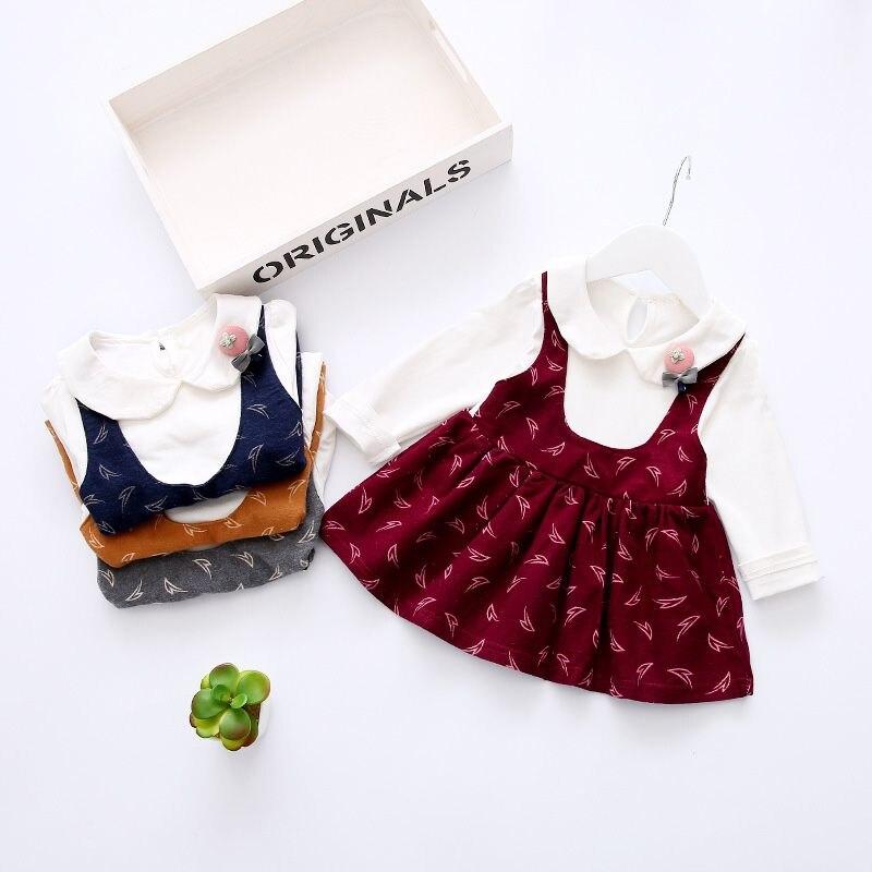 Spring Autumn Long Sleeve Baby Girls Kids Roupas Bebe Children Bow Dresses, Princess Party Infants Faux 2PCS Dress Vestido S4626