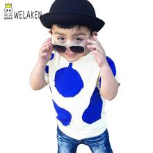 Top Quality on Aliexpress Children Blue Pear Printing Brand Quality Boy's Tshirt Children Outwear Girl's Top Tee