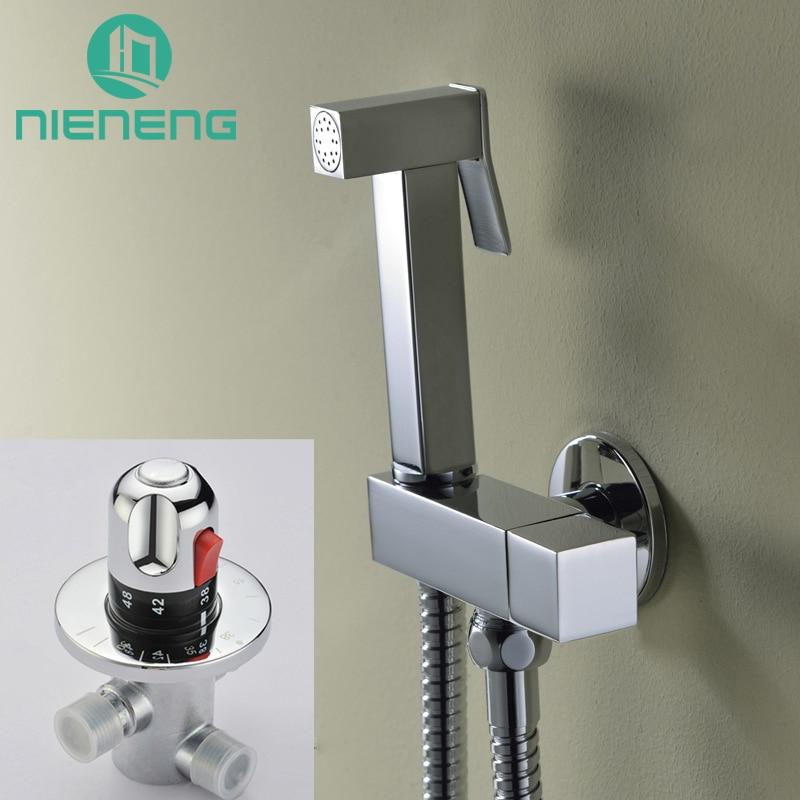 Nieneng Wall Mounted Brass Thermostatic Mixer Hand Hold Douche Bidet Spray Kit Taps Bidet Faucet Shower Set Sprayer ICD60551