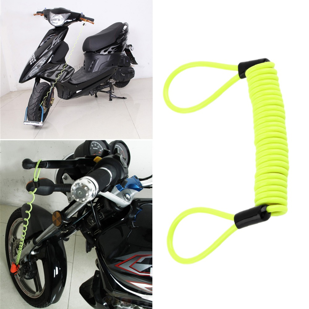 120cm Green Security Anti Thief Motorbike Motorcycle Wheel Disc Brake alarm lock & bag and reminder spring cable Free Shipping& ...