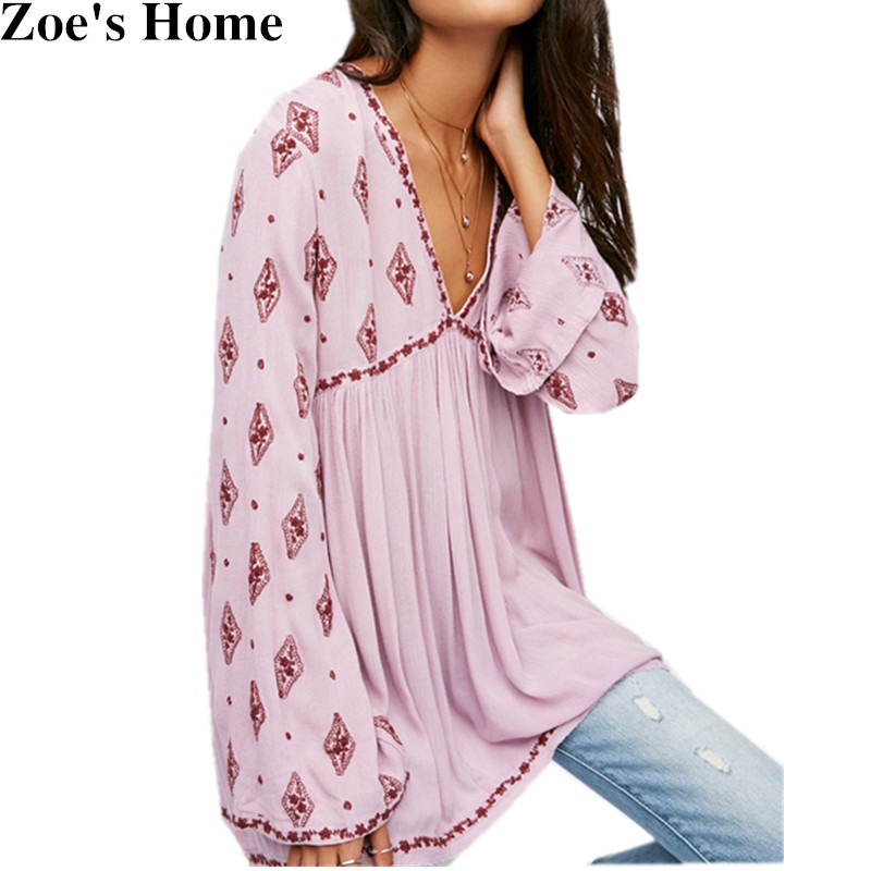 ccf6e2e610 US $28.79 13% OFF Orgreeter Sexy Women Vintage Ethnic Flower Embroidery  Deep V neck Hippie Boho People Cotton Linen Tunic Short Loose Dresses -in  ...