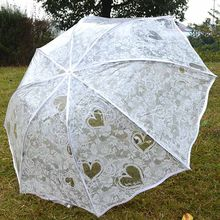 White Transparent Folding Umbrella Rain Women Waterproof Plastic Clear Lace Wedding Parasol Women 8 Ribs Activity Umbrellas(China)