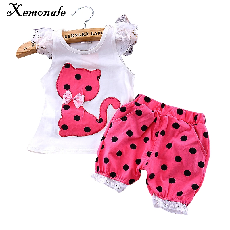 youqi thin summer baby clothing set cotton t shirt pants vest suit baby boys girls clothes 3 6 to 24 months cute brand costumes Xemonale Baby Girls Summer style clothing set girls vest clothes sets petals short   T-shirt + 3 color pants suit new 2016