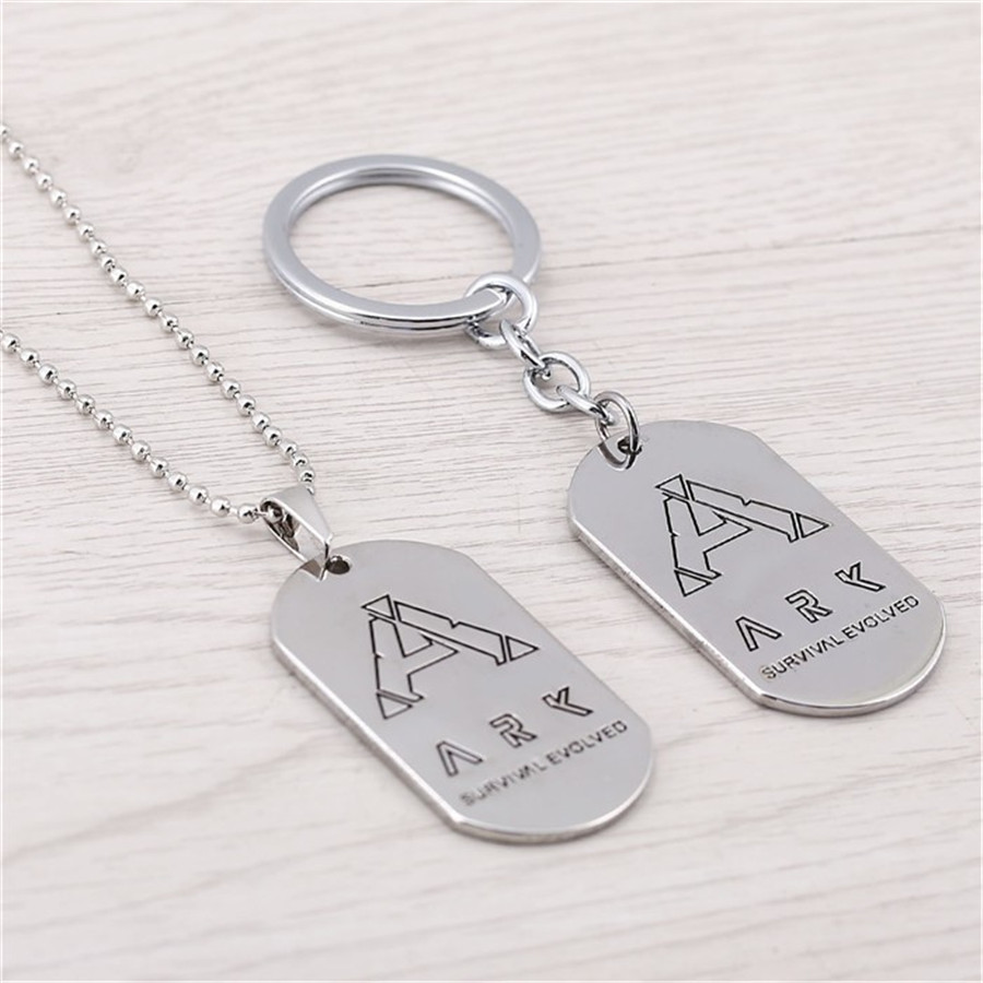Ark Survival Evolved Keychain Game Dog Tag Sliver Metal Key Chain Ring Holder For Men Jewelry Birthday Gifts Chaveiro Porte Clef