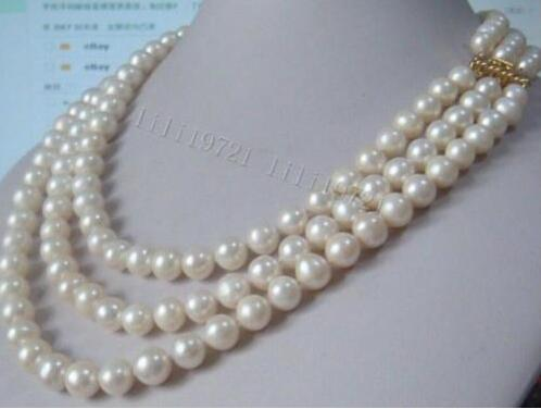Beautiful 3 rows 9-10 mm AA + white South Sea pearl necklace 43-47-51cm>>>hot Sell necklace pendant Free shipping free shipping hot sale jewelry 3 rows oval white black pearl necklace